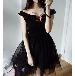 Lolita Lace Up Strapless Dress Black Womens