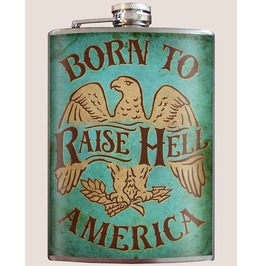 Born To Raise Hell 8oz Stainless Steel Flask Comes In A Gift Box
