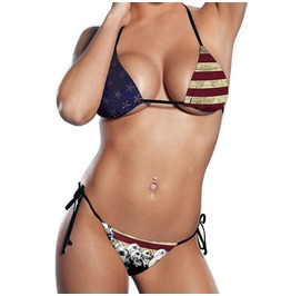 Women Sexy American Flag Skull Bathing Suit Swimwear Two Piece Bikinis Set