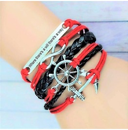 Bohemian Silver Handwoven Anchor Infinity Rudder Pu Leather Charm Bracelet