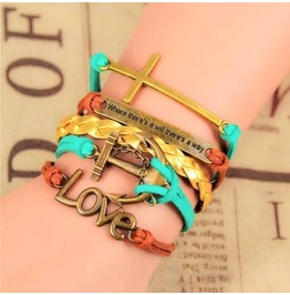Antique Bronze Handwoven Anchor Infinity Love Pu Leather Charm Bracelet