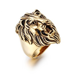 Men's Punk Golden Stainless Titanium Steel Lion Head Finger Ring