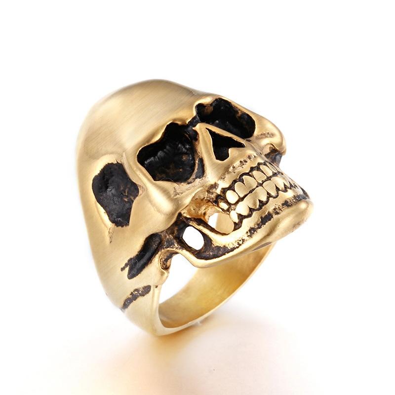 Men\'s Punk Golden Silvery Titanium Steel Skull Head Finger Ring