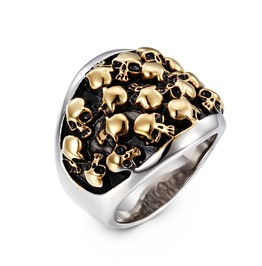 Men's Golden Silvery Skull Ring Party Gift