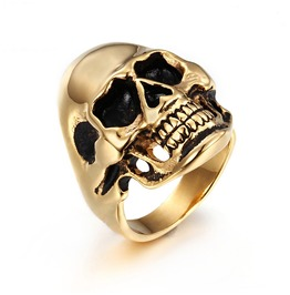 Men's Black Punk Rock Skull Head Finger Ring