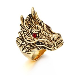 Men's Vintage Dragon Titanium Steel Diamond Retro Ring
