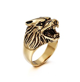 Men's Unique Wolf Head Ring