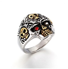 Men's Stainless Steel Titanium Animal Skull Head Diamond Ring
