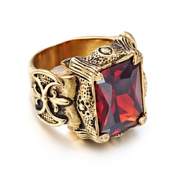 Men's Gothic Punk Plated Gold Ruby Biker Ring