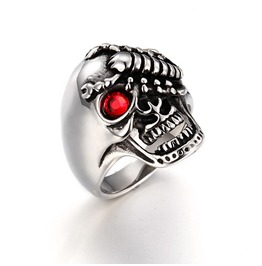 Men's Punk Rock Muiticolor Stainless Steel Scorpion Skull Head Ring