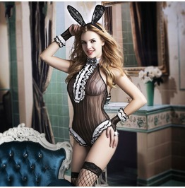 Women's Lace Open Crotch Sexy Bunny Girl Lingerie Sleepwear With Underwear