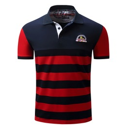 Men's Summer Striped Blue Loose Polo Shirt