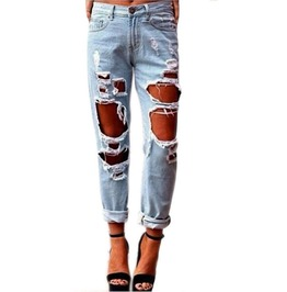 Sexy Women Ripped Distressed Skinny Denim Boyfriend Jeans
