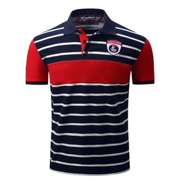 Men's Casual Contrast Sailing Short Sleeved Striped Polo Shirt