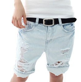 Embroidery Pocket Hole Denim Ladies Short Pants