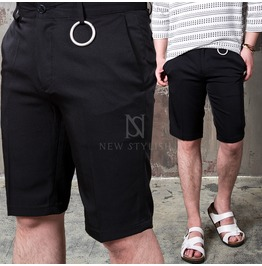 [Special Price] O Ring Attached Black Short Slacks 69