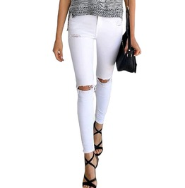 Cool Hole Ripped Jeggings High Waist Denim Skinny Casual Jeans