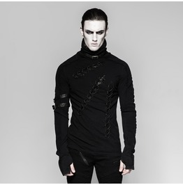 Mens Black Torn Up Strap Buckle Goth Fetish Slashed Long Sleeved Shirt
