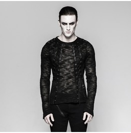 Mens Black Mesh Lace Up Industrial Visual Kei Long Sleeved Goth Shirt