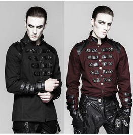 Mens Black Or Dark Red W Vegan Leather Trim Visual Kei Military Goth Shirt