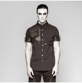 Mens Brown Short Sleeved Steampunk Shirt W Vegan Leather Strap & Pocket
