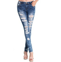 Ladies Denim Pants Stretch Ripped Skinny Jeans