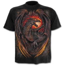 Men New Black Dragon Wings T Shirt