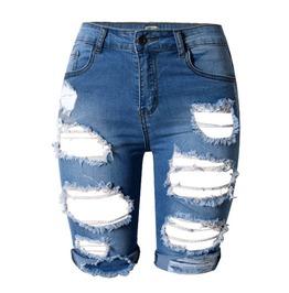 Skinny Hole Cut Off Knee Length Women Hot Denim Shorts Jeans Plus Size