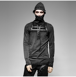 Mens Black Strap Buckle Goth Industrial Fetish Long Sleeved Hooded Shirt