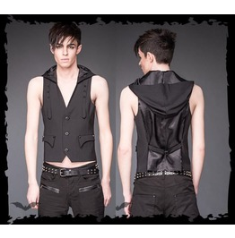 Mens Black Goth Industrial Adjustable Hooded Vest W Studded Straps $6 Ship