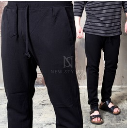 [Special Price] Basic Regular Fit Black Drawcord Pants 140