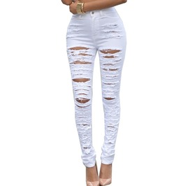 Denim Destroyed High Waist Skinny Jeans For Women