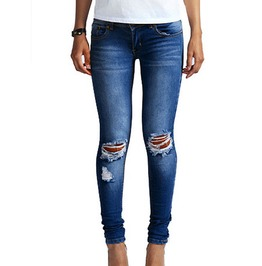 Hot Female Denim Stretch Pants Bleach Ripped Knee Skinny Cotton Jeans