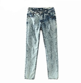 Vintage Hole Casual Mid Waist Retro Distressed Denim Female Pants