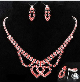 Red Ruby Crystal Rhinestone Double Intertwined Heart Necklace Jewelry Set