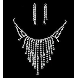 Sparkle Bars Tassels White Diamonds Rhinestone Bridal Necklace Jewelry Set