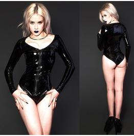Women Sexy Club Wear Black Wetlook Leather Vinyl Bodysuit Pvc Punk Bondage
