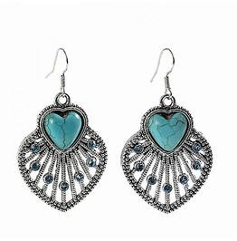 Ethnic Tribal Tibetan Silver Turquoise Crystal Double Heart Drop Earrings