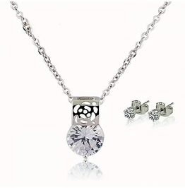 Sterling Silver 925 Round Waterdrop Cubic Zirconia Cut Diamond Pendant Sets