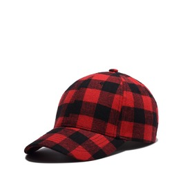 Unisex Red Plaid Cotton Summer Adjustable Baseball Cap