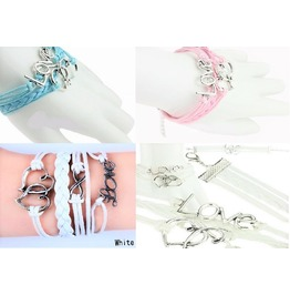 Boho Multilayer Silver Heart To Heart Infinity Love Leather Charm Bracelet