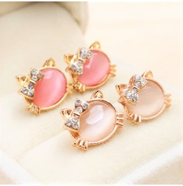 Cute Candy Color Crystal Rhinestone Bowknot Opal Kitty Cat Stud Earrings