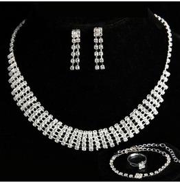 Swarovski Rhinestone Crystal Necklace Bracelet Earrings Ring Jewelry Sets