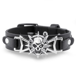 Spike Skull Cuff Bracelet Faux Leather Black