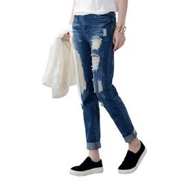 Cool Women's Hole Denim Jeans Plus Size