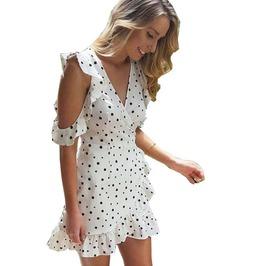 Cold Shoulder Bow Wrap Polka Dot Print Women Chic Chiffon Vintage Dress