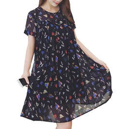 Plus Size Pleated Chiffon Dress For Women