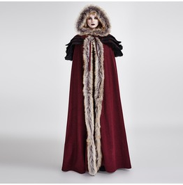 Vampire Dracula Fur Cloak Coat Maxi Red Black