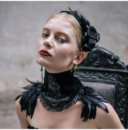 Goth Lace Neck Wear Scarf Necklace Black