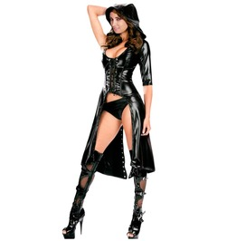 Dark Forest Wetlook Lace Up Latex Coat